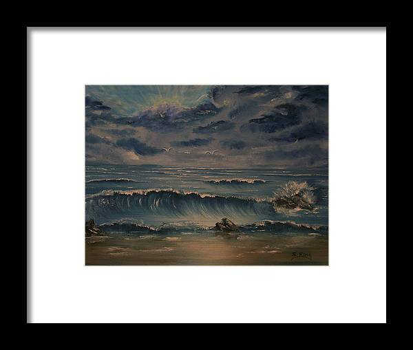 Water Framed Print featuring the painting Beach Scene by Stephen King