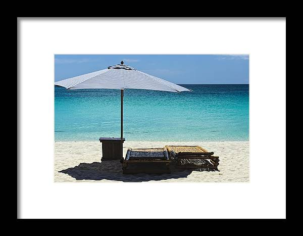 Beach Scene Framed Print featuring the photograph Beach Scene With Lounger And Umbrella by Paul W Sharpe Aka Wizard of Wonders