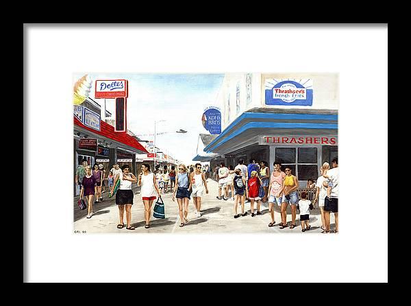 Fine Art Framed Print featuring the painting Beach/shore I Boardwalk Ocean City Md - Original Fine Art Painting by G Linsenmayer