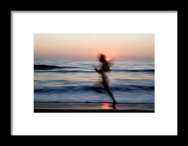 Run Framed Print featuring the photograph Beach Sprint by Brad Rickerby