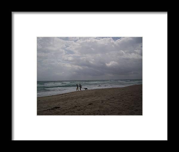 Surf Framed Print featuring the photograph Beach Stroll by Karen Thompson