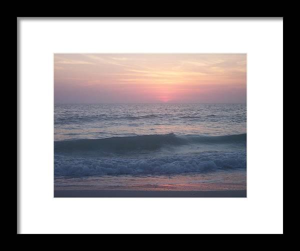 Beach Sunset Waves Pink Calm Ocean Surf Foam Framed Print featuring the photograph Beach Sunset 1 by Anna Villarreal Garbis