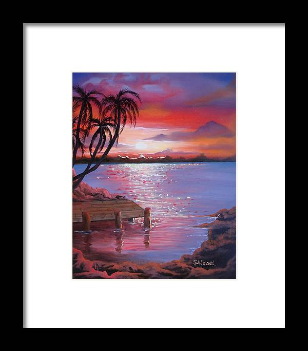 Beach Framed Print featuring the painting Beach Sunset by Sherry Winkler