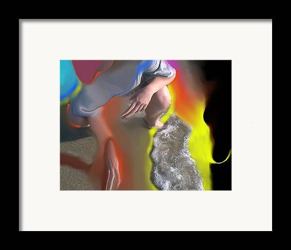Beach Framed Print featuring the digital art Beach Testing by Peter Shor