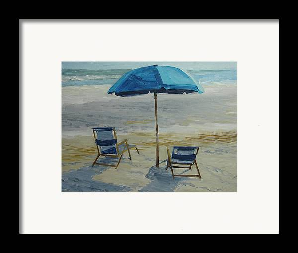 Beach Framed Print featuring the painting Beach Umbrella - Hilton Head by Robert Rohrich