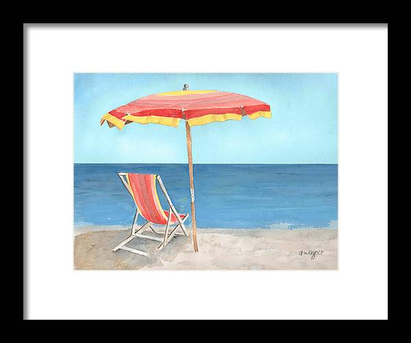 Umbrella Framed Print featuring the painting Beach Umbrella Of Stripes by Arline Wagner