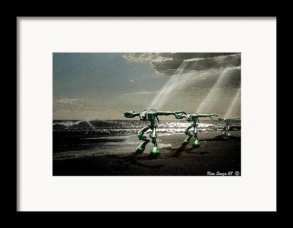 Beach Framed Print featuring the digital art Beach Visitors by Kim Souza