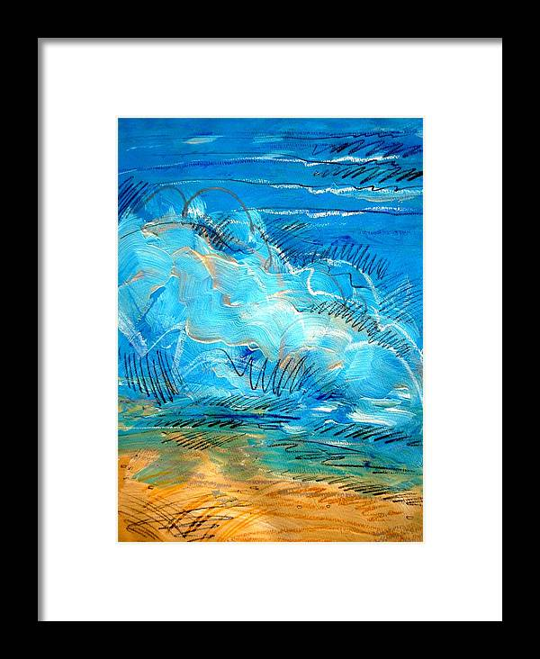 Ocean Framed Print featuring the painting Beach Wave IIi by Dodd Holsapple