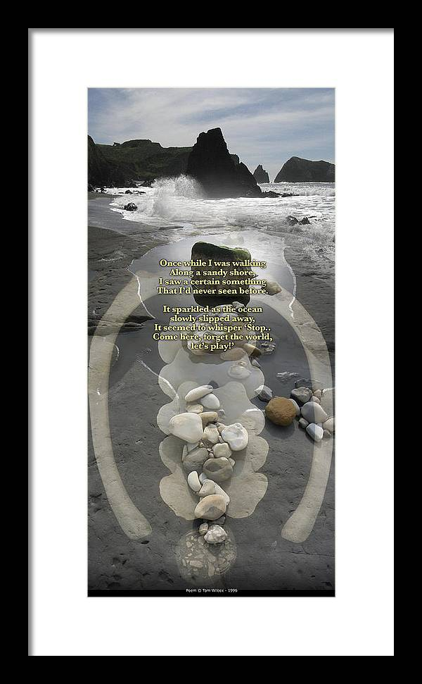 Seascape Framed Print featuring the photograph Beachcombing V2 by Bob Bennett