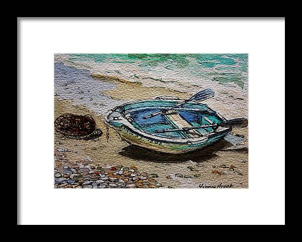 Boat Framed Print featuring the painting Beached by Yvonne Ayoub
