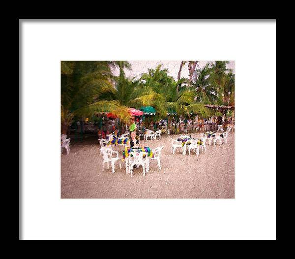 Beach Framed Print featuring the mixed media Beachfront Cafe by James Johnstone