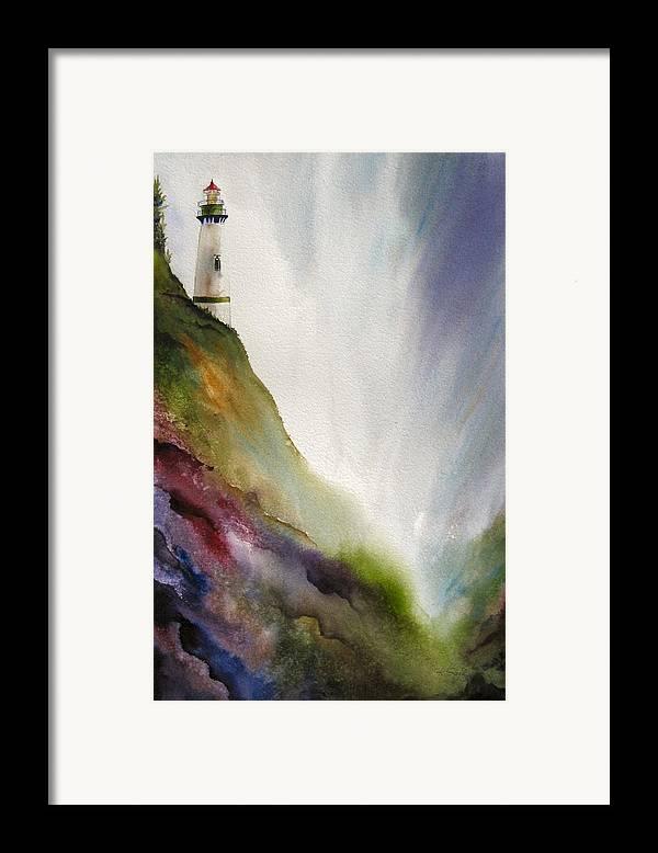 Lighthouse Framed Print featuring the painting Beacon by Karen Stark