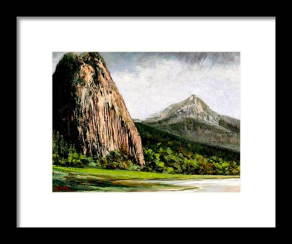 Landscape Framed Print featuring the painting Beacon Rock Washington by Jim Gola