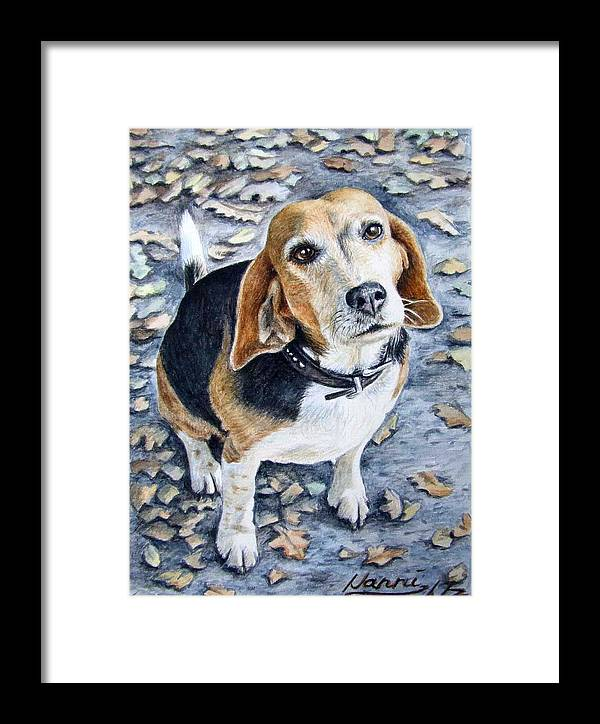 Dog Framed Print featuring the painting Beagle Nanni by Nicole Zeug