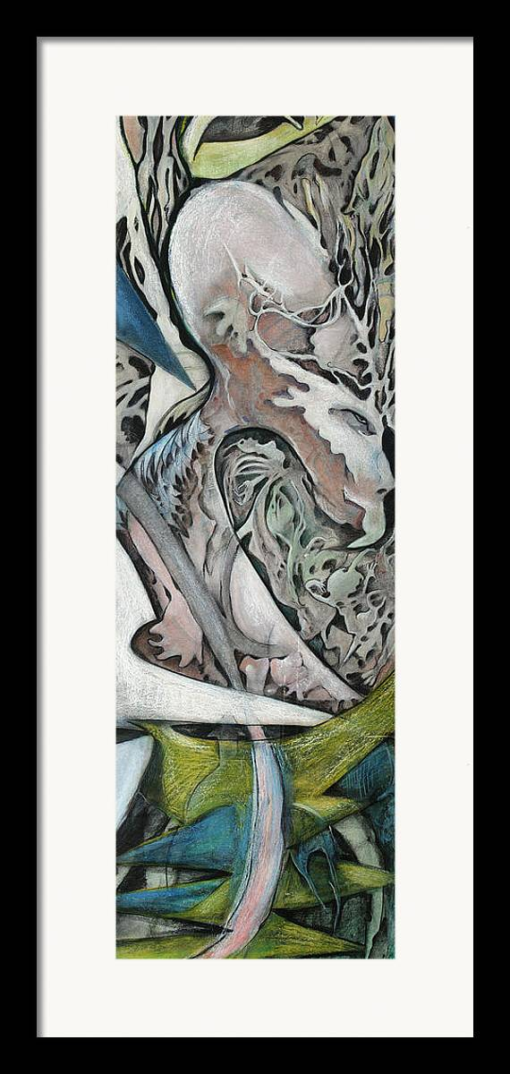 Abstract Framed Print featuring the drawing Beak by Michelle Spiziri