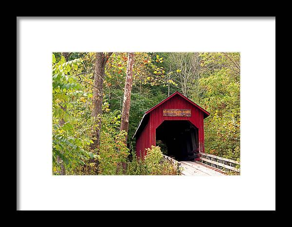 Covered Bridge Framed Print featuring the photograph Bean Blossom Bridge II by Margie Wildblood