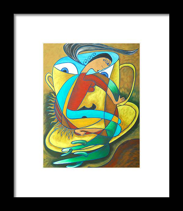 Abstract Expressionism Framed Print featuring the painting Bean Spirit by Marta Giraldo