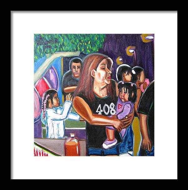 Oil Framed Print featuring the painting Bean's Birthday by Albert Almondia