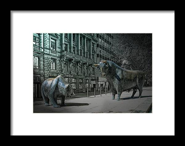 4e68cb482f8 Frankfurt Framed Print featuring the photograph bear and bull Frankfurt by  Joachim G Pinkawa