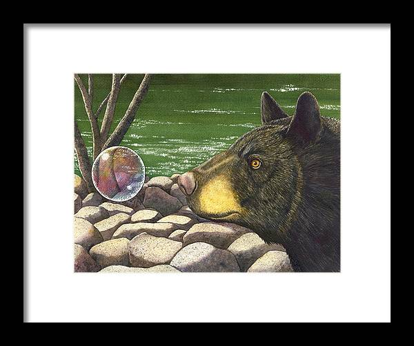 Black Bear Framed Print featuring the painting Bear bubble by Catherine G McElroy