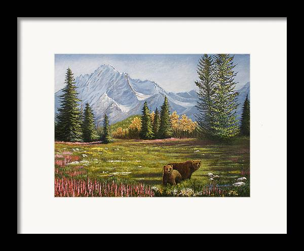Landscape Framed Print featuring the painting Bear Country by Lucille Owen-Huston