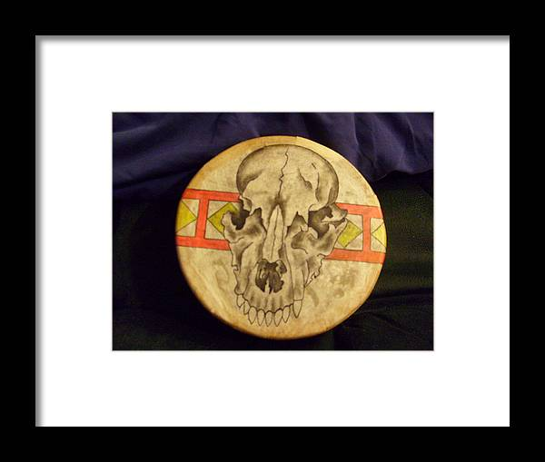 Drum Framed Print featuring the painting Bear Drum by Angelina Benson