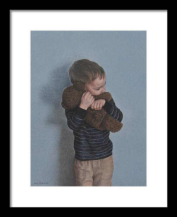 Framed Print featuring the drawing Bear Hug by Holly Bedrosian