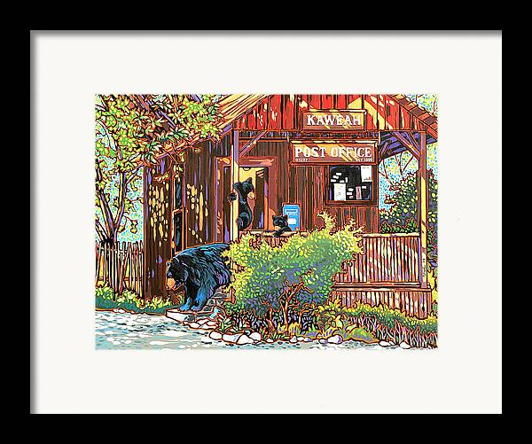 Bear Framed Print featuring the painting Bear Post by Nadi Spencer