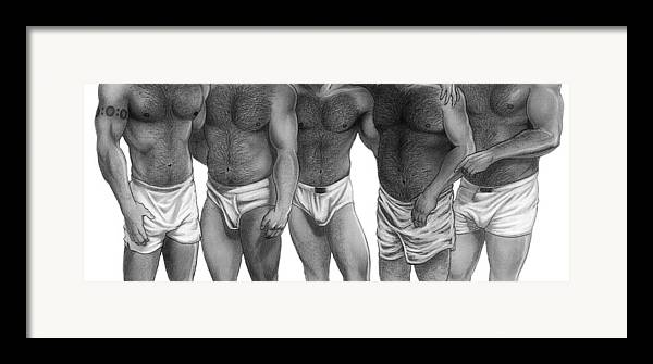 Men Framed Print featuring the drawing Bears And Cubs Of Portland Front by Brent Marr