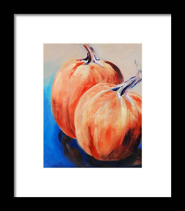 Framed Print featuring the painting Bear's Mill Punkins by Donna Pierce-Clark