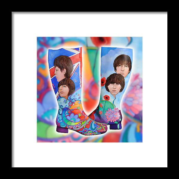 Beatle Boots Framed Print featuring the painting Beatle Boots by Mary Johnson