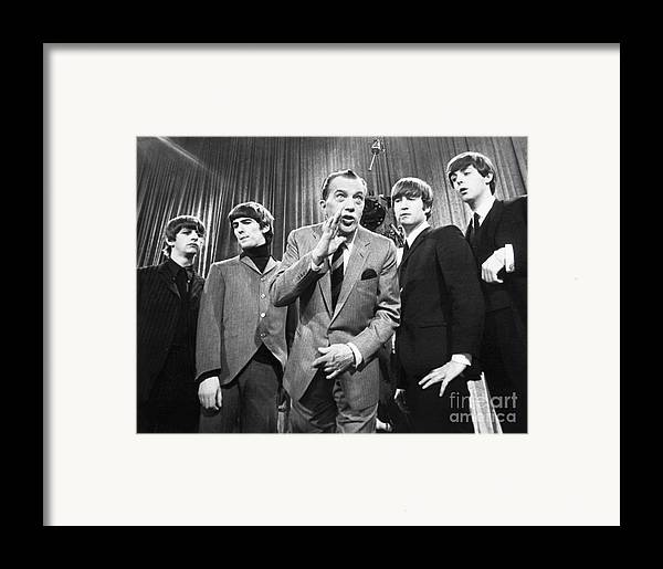 1964 Framed Print featuring the photograph Beatles And Ed Sullivan by Granger