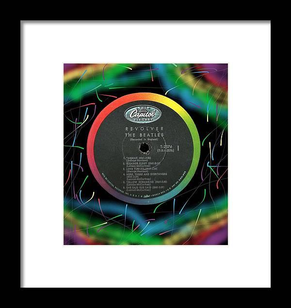 Beatles Framed Print featuring the digital art Beatles Revolver Rainbow Lp Label by Doug Siegel