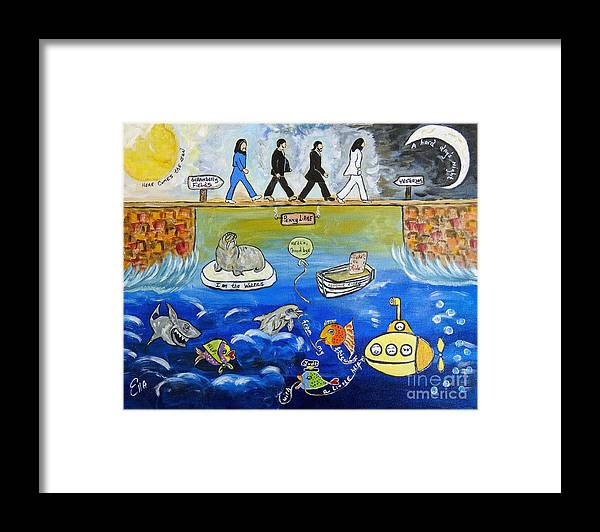 The Beatles Framed Print featuring the painting Beatles Song Titles Original Painting Characterization by Ella Kaye Dickey