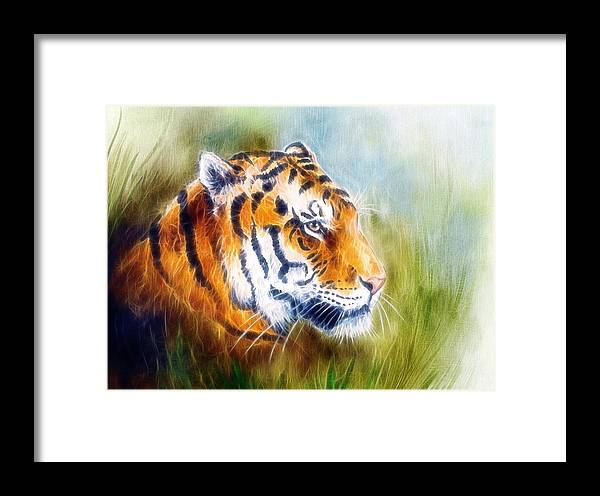 Art Framed Print featuring the painting Beautiful Airbrush Painting Of A Mighty Fierce Tiger Head On A Soft Toned Abstract Gres Background by Jozef Klopacka