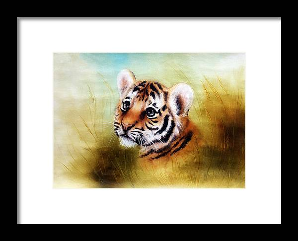 Art Framed Print featuring the painting Beautiful Airbrush Painting Of An Adorable Baby Tiger Head Looking Out From A Green Grass Surroundin by Jozef Klopacka