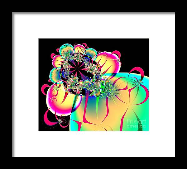 Balloons Framed Print featuring the digital art Beautiful Balloon Bouquet Fractal 57 by Rose Santuci-Sofranko