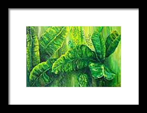 Framed Print featuring the painting Beautiful Banana Leaves by Carol P Kingsley