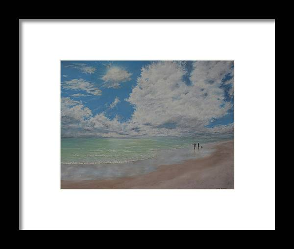 Beach Framed Print featuring the painting Beautiful Beach Day by Christine Brunette
