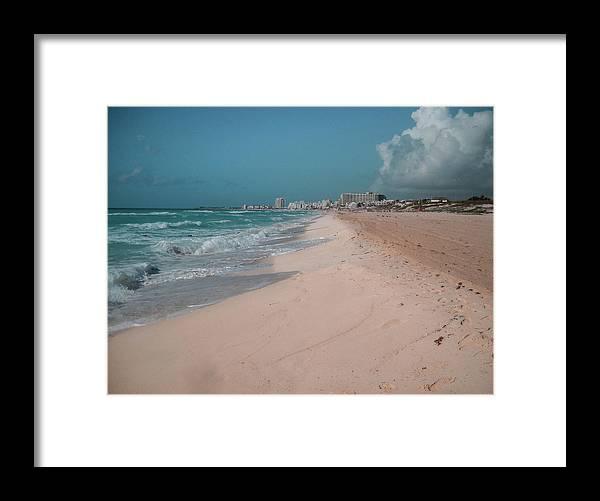 Beach Framed Print featuring the digital art Beautiful beach in Cancun, Mexico by Nicolas Gabriel Gonzalez