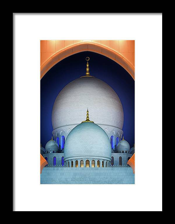 Abu Framed Print featuring the photograph Beautiful Detail At Mosque, Abu Dhabi, United Arab Emirates by Marek Kijevsky