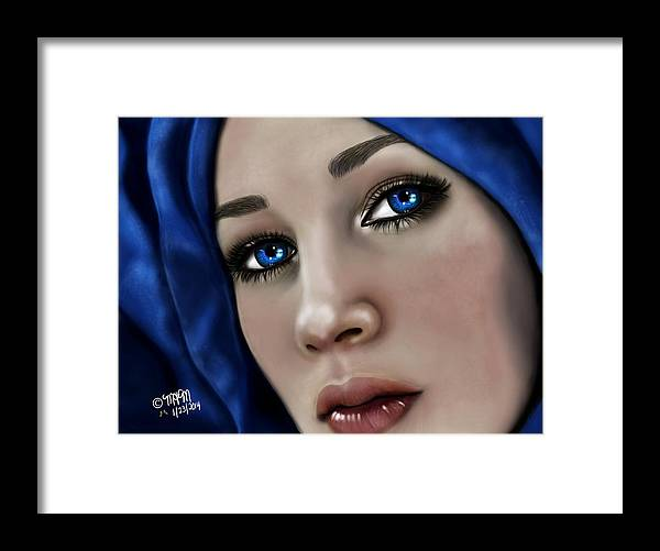 Girl Framed Print featuring the digital art Beautiful In Blue Version 2 by Maria T Martinez