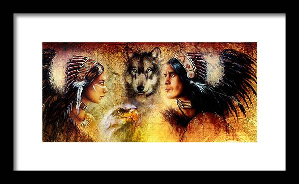 Art Framed Print featuring the painting Beautiful Painting Of An Young Indian Man And Woman Accompanied by Jozef Klopacka