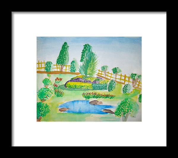 Landscape Framed Print featuring the painting Beautiful Park by Tanmay Singh