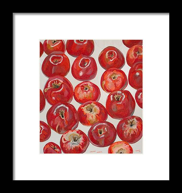 Apple Framed Print featuring the painting Beautiful Red Apples by Vitali Komarov