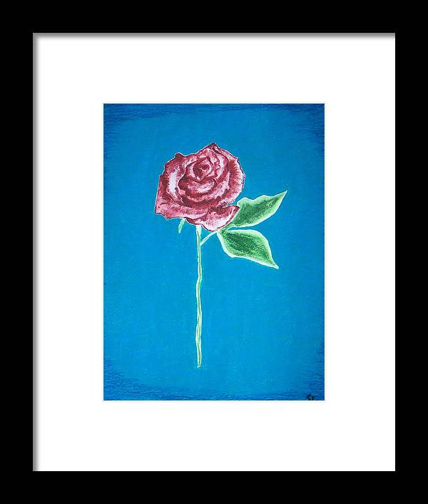 Rose Framed Print featuring the painting Beautiful Rose On Blue Background by Sanchia Fernandes
