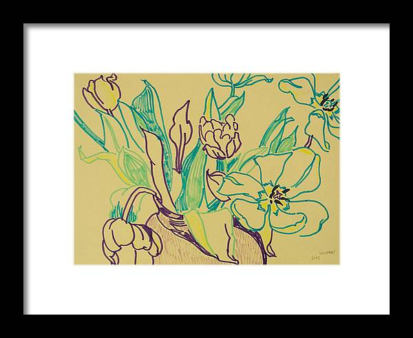 Tulip Framed Print featuring the drawing Beautiful Tulips by Vitali Komarov