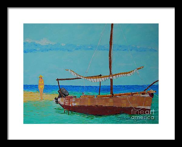 Beach Art Framed Print featuring the painting Beauty And The Beast by Art Mantia