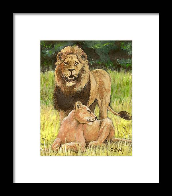 Lions Framed Print featuring the painting Beauty And The Beast by George I Perez