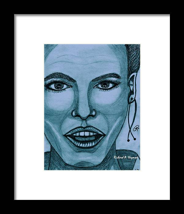 Female Framed Print featuring the painting Beauty In Blue One by Richard Heyman